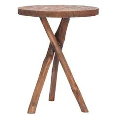 Tripod Round End Table Brown, now featured on Fab.