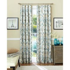 Turquoise and grey in a yellow room?  What say you, oh wise internet?  Better Homes and Gardens Ikat Scroll Curtain Panel