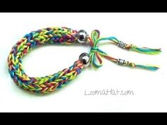 Friendship Bracelet - HexaFish Style - on a Knifty Knitter Spool Loom with Floss