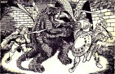 "oldschoolfrp: "" The party battles an owlbear in the Caves of Chaos. Watch out for sneaky halflings with cut down polearms. (Jim Roslof, from D&D module B2: The Keep on the Borderlands, written by Gary Gygax, TSR, 1980.) """