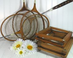 Your place to buy and sell all things handmade Badminton, Vintage Sports Decor, Tennis Equipment, Vintage Soul, Wood And Metal, Leather Handle, Decoration, Natural Wood, Repurposed
