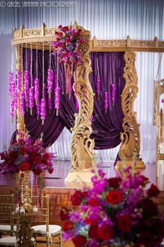 Indian Wedding, Boynton Beach BAPS Mandir, Suhaag Garden, Indian wedding decorators, Florida wedding decorators, wooden carved mandap, lavender drapes, crystals, orchids