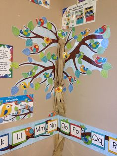 Using a brown paper bag, create a full size tree with the Boho Birds Bulletin Board set by Carson-Dellosa