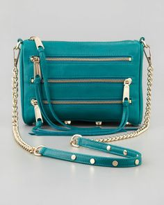 Five-Zip Mini Crossbody Bag, Azure by Rebecca Minkoff at Neiman Marcus.
