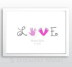 A beautiful keepsake print, perfect as a gift for parents, grandparents, or to display in a childs bedroom or nursery. LOVE, with the O as a hand print, and the V made from two foot prints. ~ The childs name will be printed underneath the hand prints, along with their date of birth (optional, please state if not required). ~ Choice of colours for hand/foot prints and text, please specify preferences when ordering/sending hand prints. ~ Printed on A4 (21 x 29.7cm) 240gsm matt photo paper A...