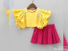 Pre Order: Yellow Frilly Top With Pleated Pink Skirt Frocks For Girls, Dresses Kids Girl, Kids Outfits, Baby Girl Frocks, Baby Frocks Designs, Kids Frocks Design, Kids Dress Wear, Kids Wear, Design Youtube