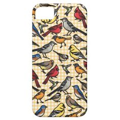 Small Backyard Birds on Yellow Gingham iPhone 5 Cover