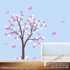 Flower Tree Wall Deca l- Cherry Blossom Vinyl Wall Art Tree Decal - Baby Nursery Decals - Childrens - Girls - Buterflies - Pink- White - on Etsy, $80.00