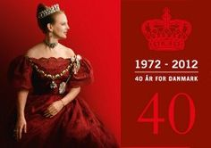 The Danish Queen Margrethe II - was celebrated together with the Royal family on her 40 years jubilee by all the Danes and royalist in Denmark in January -2012. The beloved and popular Queen has been the reigning monarch in Denmark for four decades from 1972 - 2012.  Within 40 years of reign the Danish Queen Margrethe II - has captured the hearts of the Danes - and her creativity and engagement in painting - music and dance has enriched the Danish cultural scene.