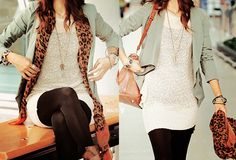 simple dress, tights, blazer, and leopard scarf - love the layered look!