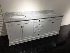 72 inch freestanding bathroom vanity with carrara white marble top double porcelain sinks,four door three functional drawers.