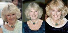 HRH the Duchess of Cornwall wearing her beautiful pearl and aquamarine choker.