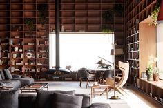 Sao Paulo Penthouse - I love those giant shelf walls!