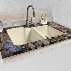 Miseno MCI35-0UM 33 Double Basin Undermount Cast Iron Kitchen Sink (Cream Finish), Biscuit