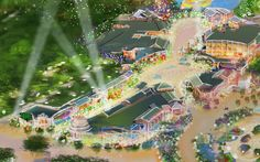 """Close-up of Shanghai Disneyland's planned entertainment / retail district (""""Downtown Disney"""")"""