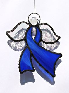Stained Glass Awareness RIBBON ANGEL by stainedglasswhimsy on Etsy, $24.00