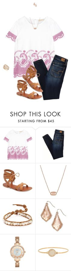 """""""Purple and Biege"""" by joelleduffin ❤ liked on Polyvore featuring MICHAEL Michael Kors, American Eagle Outfitters, Topshop, Kendra Scott, Chan Luu, Kate Spade and Marc by Marc Jacobs"""