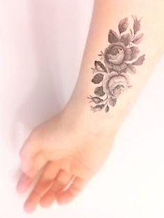 Vintage Floral Temporary Tattoo - Black and White, Large Tattoo, Vintage Illustration