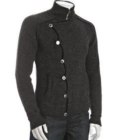 Gilded Age : black alpaca 'Lievely Harbor' asymmetrical button cardigan : style # 315072201