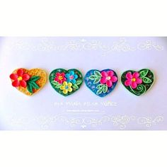 Quilled Flowers in Hearts