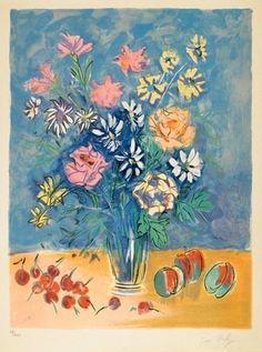 Jean Dufy - Bouquet de fleurs, Circa 1950, Color lithograph