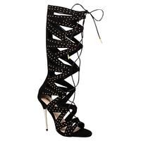 Buy Carvela Gillow Lace Up Knee High Gladiator Sandals, Black £49 from Women's High Heel Sandals range at #LaBijouxBoutique.co.uk Marketplace. Fast & Secure Delivery from John Lewis online store.
