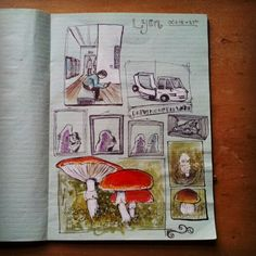 Page from my visual diary depicting scenes from my recent stay in Lyon, France.  #visualdiary #illustration #drawing #watercolour #sketch #characters #art #france #comicbook #gallery #mushroom #frame #lyon #sketchbook #jacobscreations #pen #paintmarker #fineliner