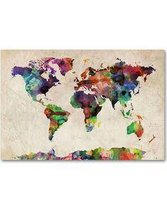 'Urban Watercolor World Map'' Canvas Wall Art by Michael Tompsett