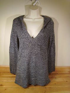 Women Carolyn Taylor Gray Soft Knit Hooded Sweater Small s V Neck | eBay
