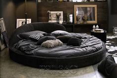 Jazz Designer Italian Round Leather Bed is a chic solution for those looking to incorporate a unique, yet inviting element into their modern bedroom. Manufactured in Italy by Gamma Arredamenti. Bedroom Bed Design, Bedroom Furniture Design, Modern Bedroom Design, Home Room Design, Bed Furniture, Home Bedroom, Furniture Showroom, Bedroom Ideas, Modern Bedrooms