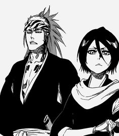 Renji and Rukia looking like they're realizing they are going to have to throw down with some enemy or other.