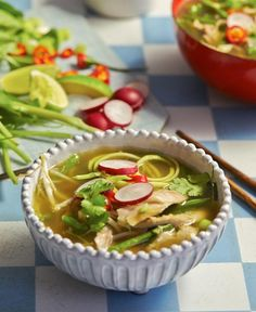 Chicken Pho recipe with Zucchini Noodles by Hemsley + Hemsley #pho #recipes #soup