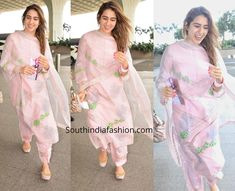 Sara was photographed at the Mumbai airport recently wearing a pink salwar kameez by Devnaagri. She styled her look with matching juttis by Needle Dust! Sharara Designs, Kurta Designs Women, Kurti Designs Party Wear, Pakistani Dress Design, Pakistani Dresses, Indian Dresses, Indian Outfits, Casual Indian Fashion, India Fashion