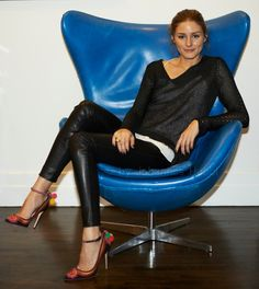 Olivia Palermo in leather leggings by Daryl K with a Bird by Juicy Couture sweater and shoes from the L.K. Bennett London by Caroline Issa capsule collection.
