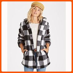 Billabong Junior's into the Forest Super Plush Plaid Hooded Coat, Black/White, S - All about women (*Amazon Partner-Link)