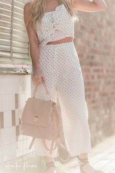 be57c36a1571 Super Cute outfit for spring and summer outfit. Polka Dot Twist Top and  culottes
