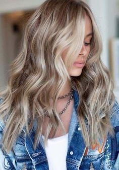 Grey Balayage, Hair Color Balayage, Blonde Highlights On Brown Hair, Blonde With Brown Lowlights, Brunette With Blonde Highlights, Haircolor, Blonde Hair Colour Shades, Ombre Hair Color, Red Blonde