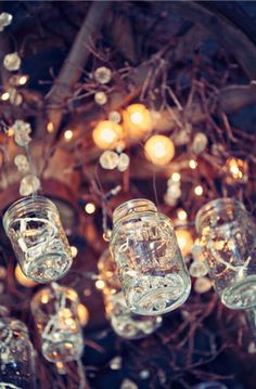 magical..would be pretty with moss and flowers in the mason jars with some Led lights nestled in the moss emitting a candle like glow.