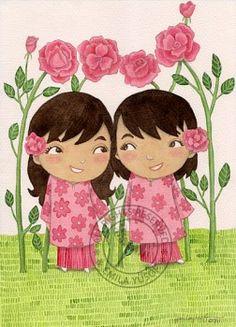 Twin girls - watercolor