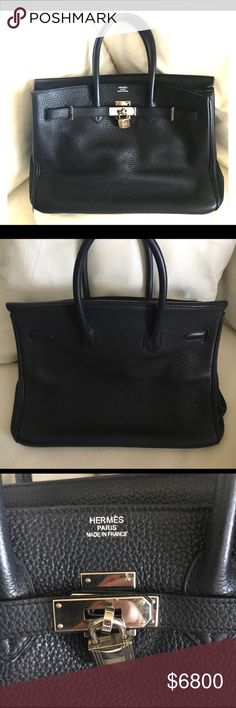 Hermes Black Birkin Togo with Silver Hardware Never used. Comes with rain jacket, but does not have dustbag and key was misplaced. Types Of Purses, Hermes Paris, Birkin, Fashion Design, Fashion Tips, Fashion Trends, Dust Bag, Totes, Rain Jacket