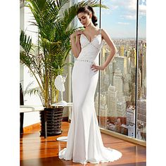 Trumpet/Mermaid Spaghetti Straps Sweep/Brush Train Satin Chiffon Wedding Dress (1093717) – USD $ 149.99