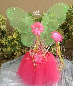 Tinkerbell Party Green  Fairy Wings Pink Fairy by partiesandfun, $18.50