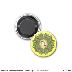 Peacock Feather Wreath Zodiac Sign Scorpio 1-inch Round Magnet (All Zodiac Symbols Available)