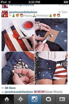 A homemade project to make your shorts cute for the forth of July or just for the summer!