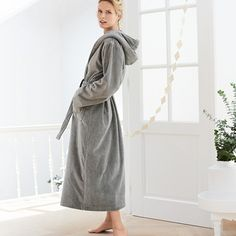 Buy Unisex Velour Hooded Robe - from The White Company The White Company, Cotton Towels, Nightwear, Hoods, Dressing, Unisex, Stylish, How To Wear, Shopping