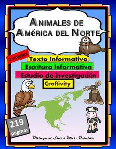 """9 ANIMALES DE AMERICA DEL NORTE  ESTUDIO DE INVESTIGACIN-TEXTO INFORMATIVO  Y ESCRITURA INFORMATIVA en dos niveles - CRAFTIVITY   North America Animals """"Research"""" - Informational Text, Informative Writing- Craftivity  in SpanishNo requiere preparacin!"""