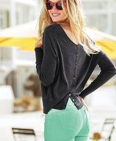 Button-Back Sweater TheOriginalPrep