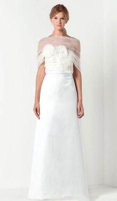 Satin Straight Neckline with Dreamy Illusion Overlay Chic Column Wedding Dresses - Bridal Gowns - RainingBlossoms Famous Wedding Dresses, Top Wedding Dresses, Luxury Wedding Dress, Bridal Dresses, Wedding Gowns, Bridesmaid Dresses, Lace Wedding, Dream Wedding, Max Mara Bridal