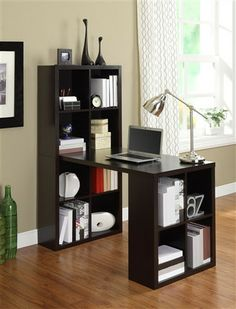 Espresso Desk & Bookcase Combination with Maximum Storage – OfficeDesk.com