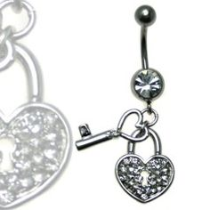 Multi Jewel Heart and Key Dangle Belly Ring Surgical Steel